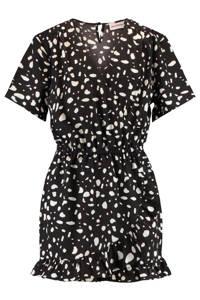 CoolCat Junior jumpsuit Noor met all over print zwart/wit, Zwart/wit