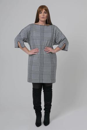fijngebreide jurk met pied-de-poule wit/zwart