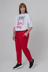 Mat Fashion slim fit broek rood, Rood