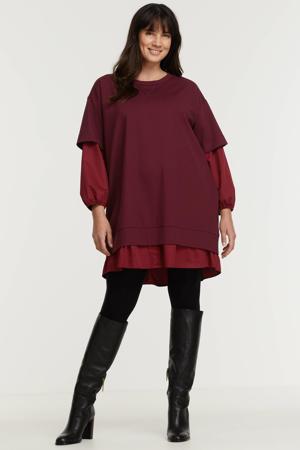 jurk met plooien donkerrood