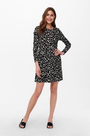 A-lijn jurk JDYCLAUDE met all over print en plooien zwart/beige