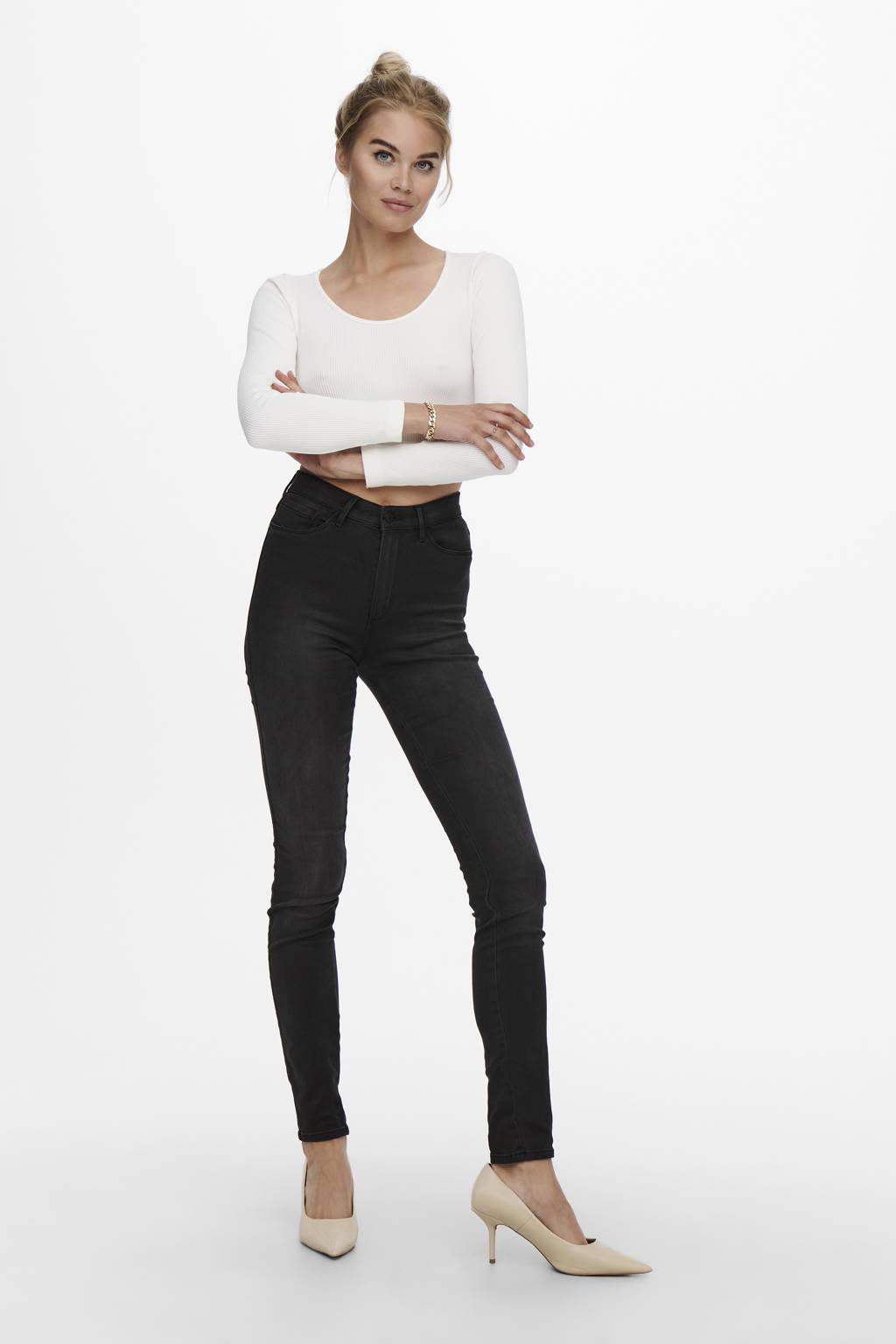 ONLY high waist skinny jeans ONLROYAL black denim, Black denim
