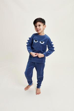 fluwelen pyjama Wild Adventure met printopdruk donkerblauw