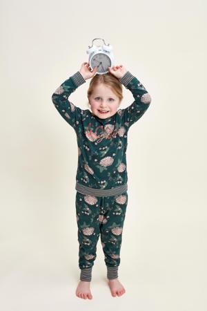 pyjama met all over print donkergroen/roze