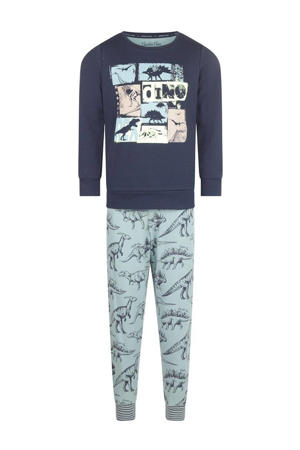 pyjama Dino Adventure met printopdruk lichtblauw/donkerblauw