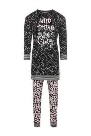 pyjama Wild Dreams met all over print zwart/lichtroze