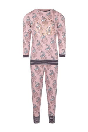pyjama Fantasy Dreams met all over print lichtroze/wit