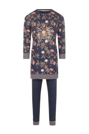 pyjama Mystic Dreams met all over print donkerblauw/roze