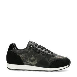 Federica  suède sneakers met slangenprint zwart
