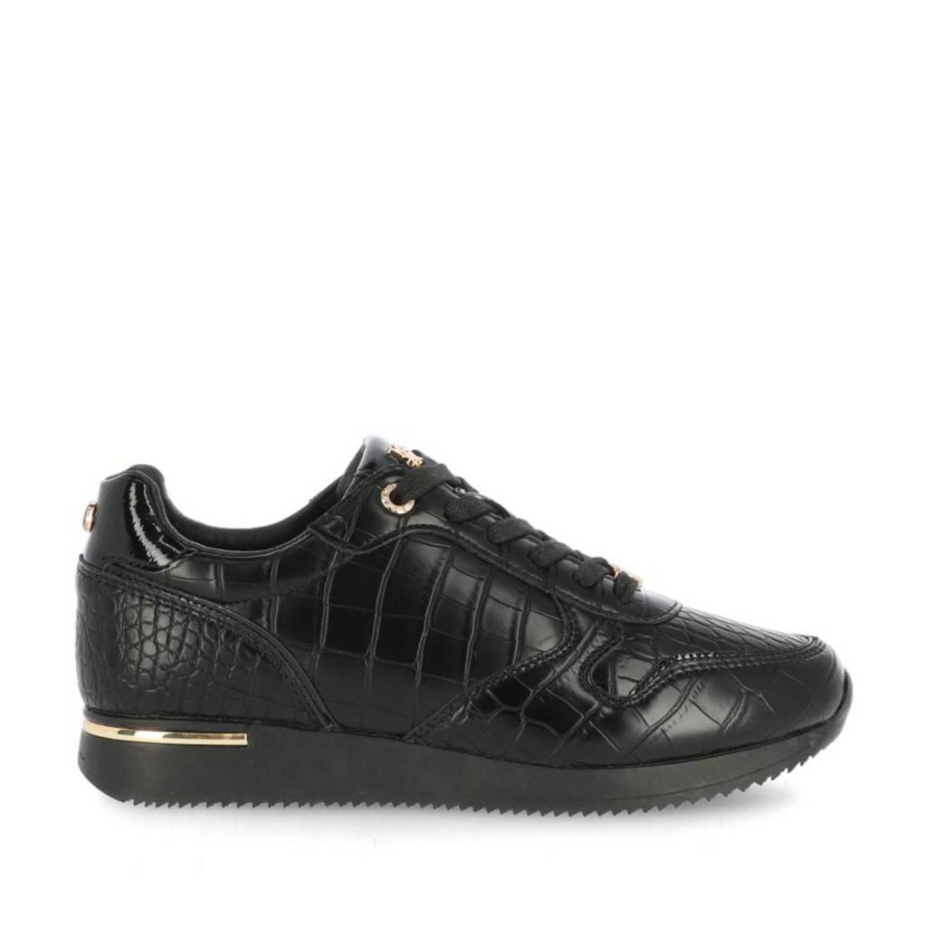Mexx Eke  sneakers met crocoprint zwart, Zwart