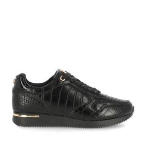 Eke  sneakers met crocoprint zwart