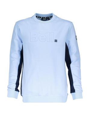 sweater met logo lichtblauw/zwart