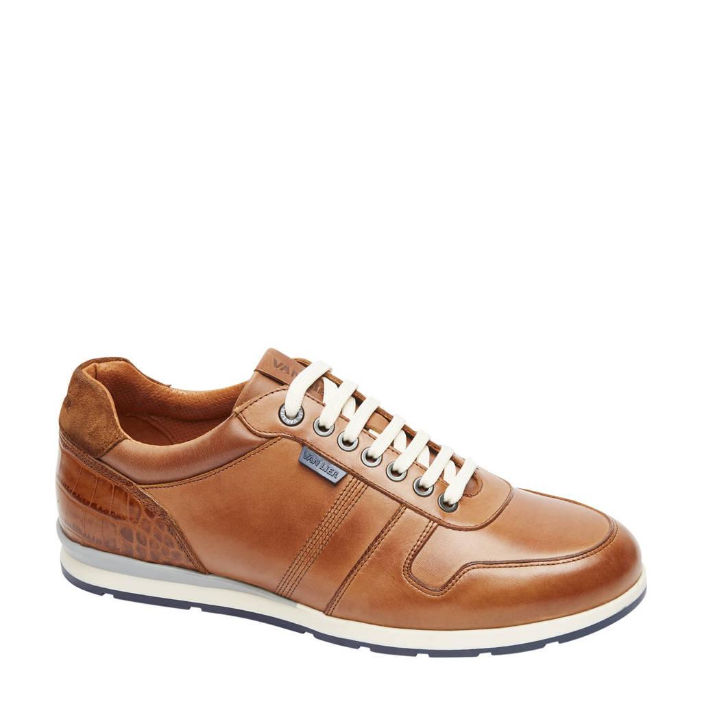 Van Lier Davinci  leren sneakers cognac, Cognac