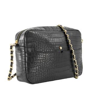 crossbody tas met crocoprint zwart