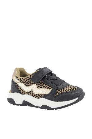 sneakers met dierenprint zwart/beige