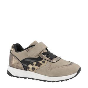 sneakers met panterprint taupe