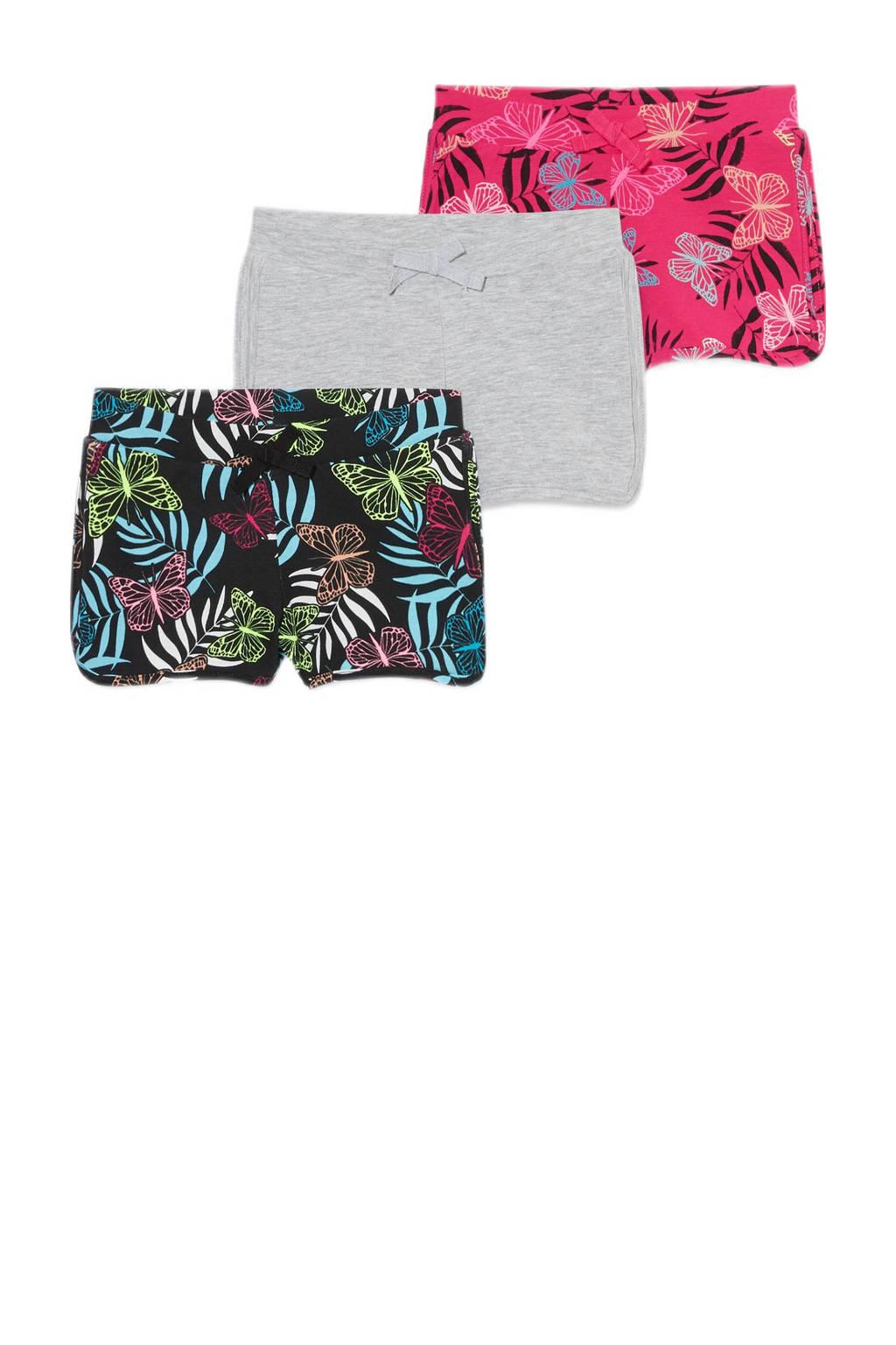 C&A Palomino korte broek - set van 3 zwart/grijs/roze, Grijs/zwart/roze