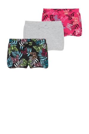sweatshort - set van 3 zwart/grijs/roze