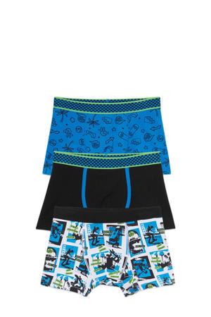 boxershort - set van 3 blauw/wit