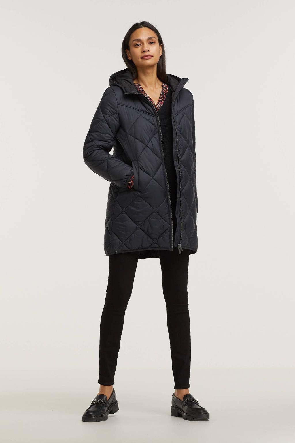 edc Women gewatteerde jas zwart, Zwart