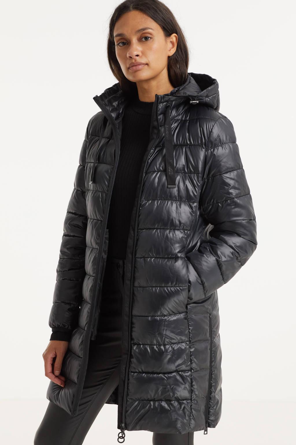 ESPRIT Women Casual gewatteerde jas van gerecycled polyester zwart, Zwart