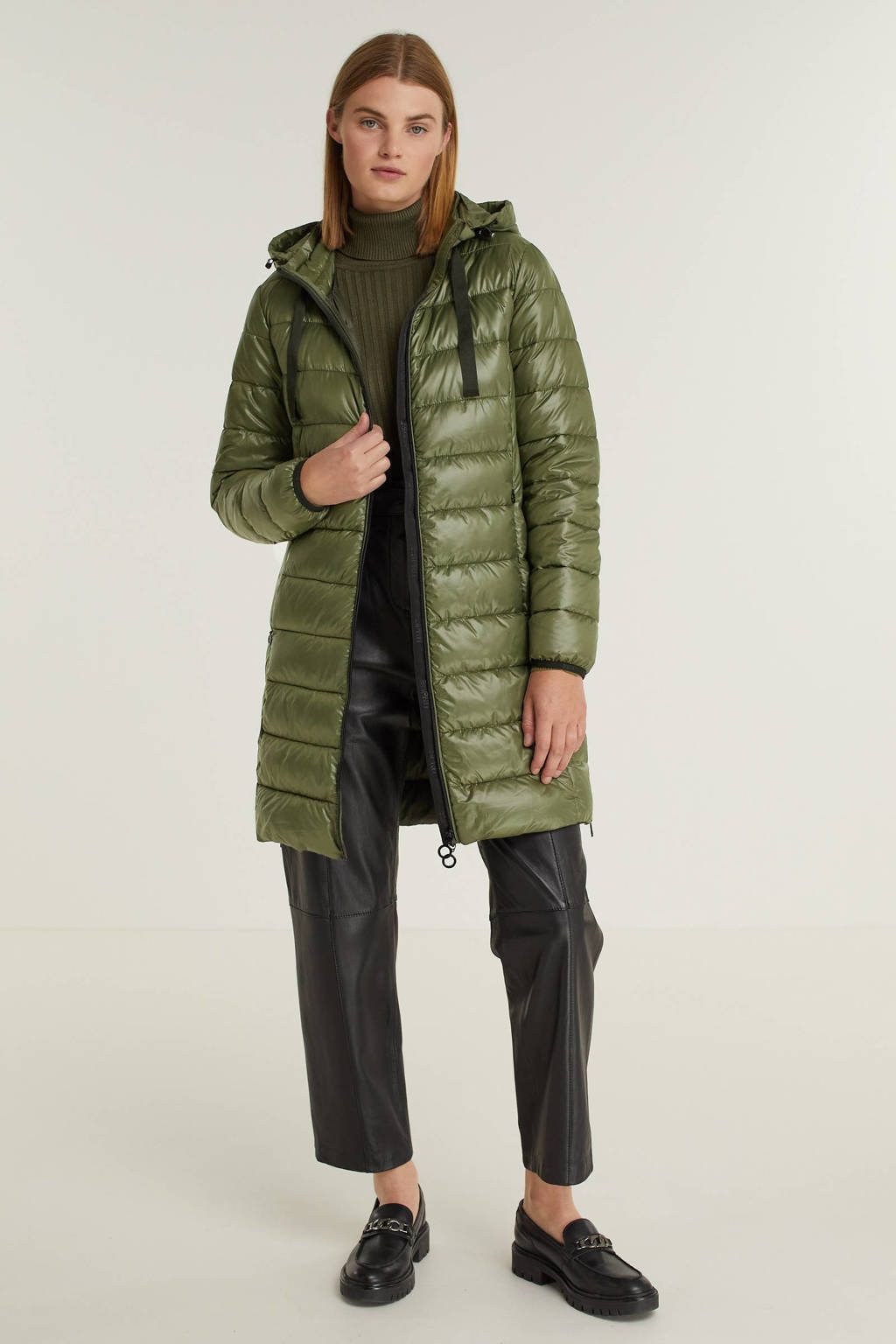 ESPRIT Women Casual gewatteerde jas van gerecycled polyester groen, Groen