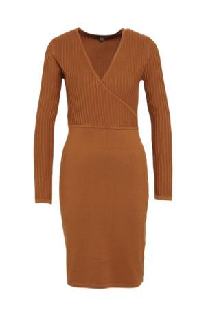 ribgebreide jurk donker oranje