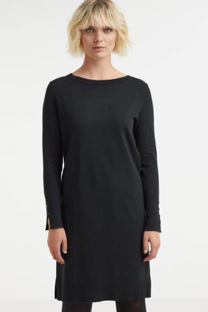 fijngebreide jurk met biologisch katoen zwart