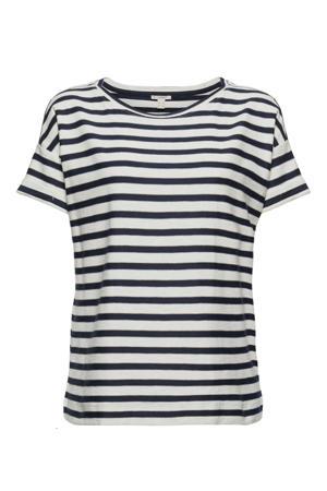 gestreept T-shirt van biologisch katoen wit/blauw