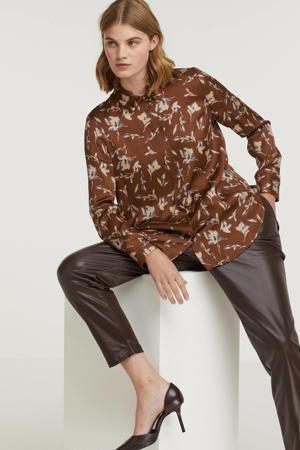 blouse met all over print bruin/ecru/blauw