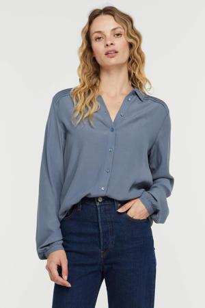 blouse met plooien lichtblauw