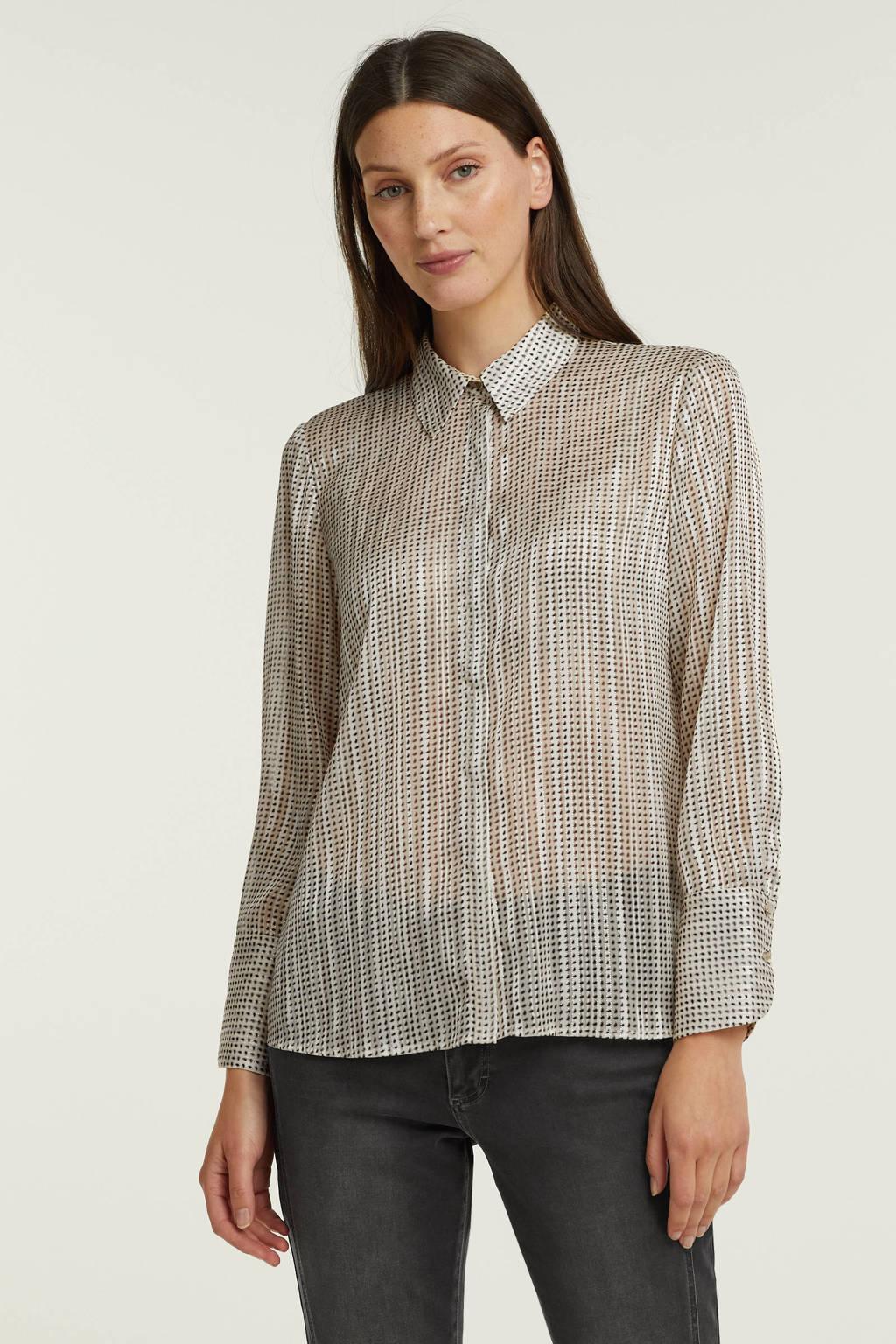 ESPRIT Women Collection semi-transparante blouse met all over print lichtgrijs, Lichtgrijs