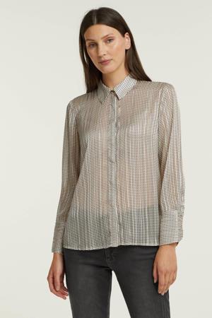 semi-transparante blouse met all over print lichtgrijs