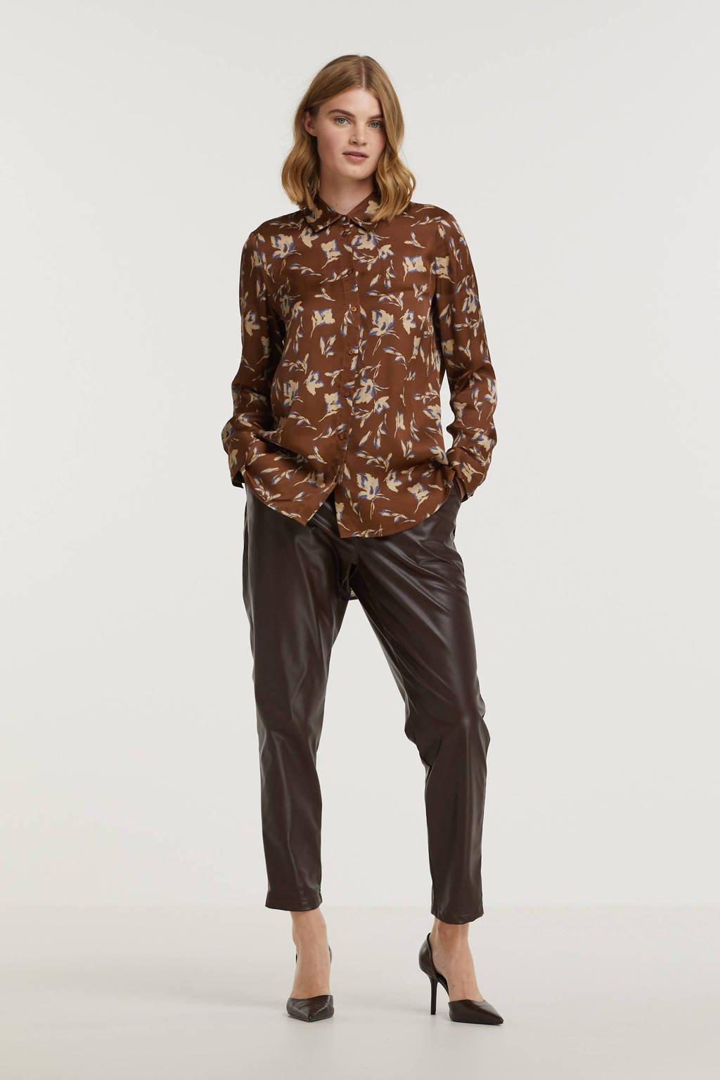 edc Women imitatieleren cropped tapered fit pantalon bruin, Bruin