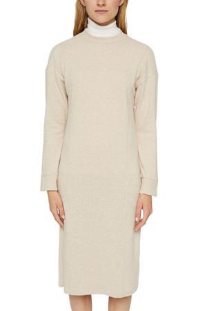 gemêleerde fijngebreide jurk beige