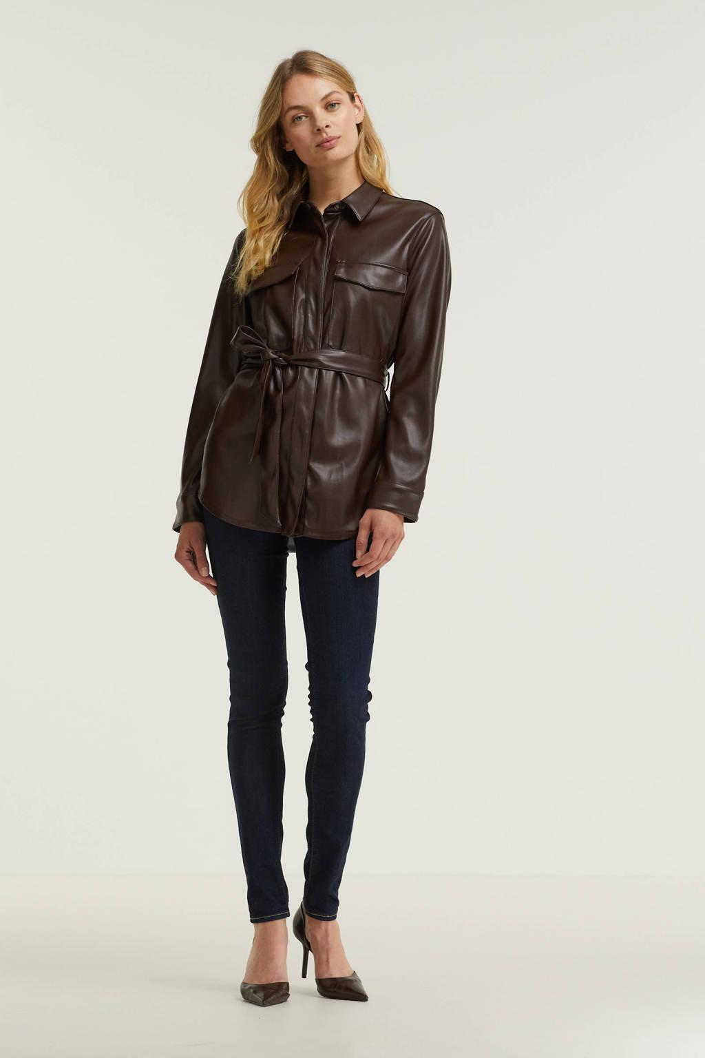 edc Women imitatieleren jas met ceintuur donkerbruin, Donkerbruin