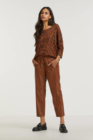 coated cropped straight fit broek bruin