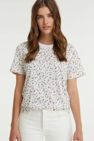 gebloemd T-shirt met biologisch katoen wit