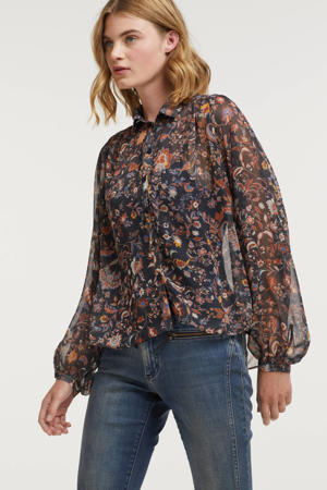 semi-transparante blouse met all over print donkerblauw/roodbruin