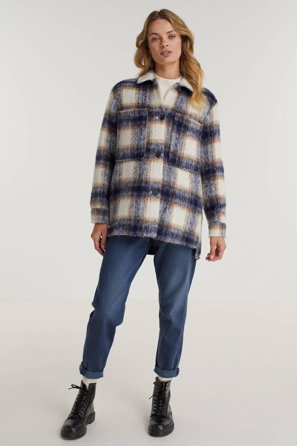ESPRIT Women Casual geruite shacket met wol ecru/blauw, Ecru/blauw