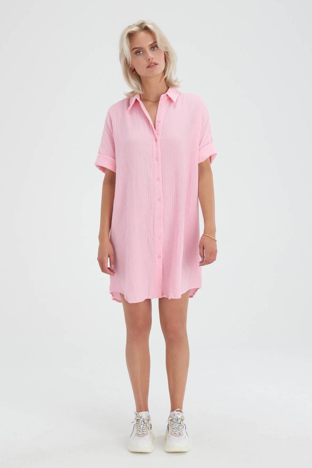 Shoeby Eksept blousejurk Cotton Blouse met textuur roze, Roze