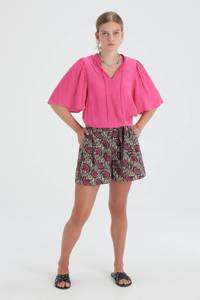 Shoeby Eksept top met ruches Structure roze, Roze