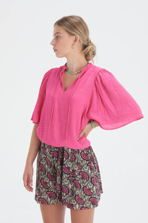 top met ruches Structure roze