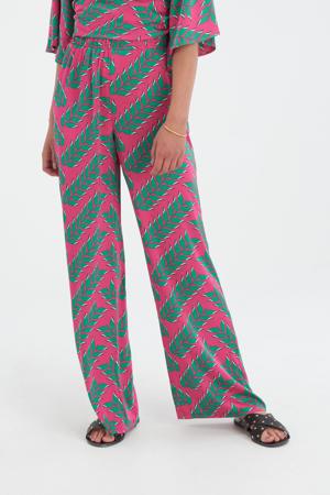 high waist wide leg broek Printed met all over print roze/groen