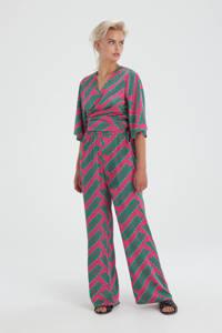 Shoeby Eksept high waist wide leg broek Printed met all over print roze/groen, Roze/groen