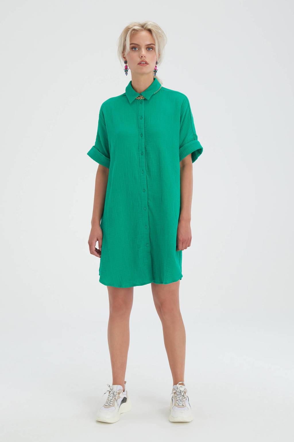 Shoeby Eksept blousejurk Cotton Blouse met textuur groen, Groen