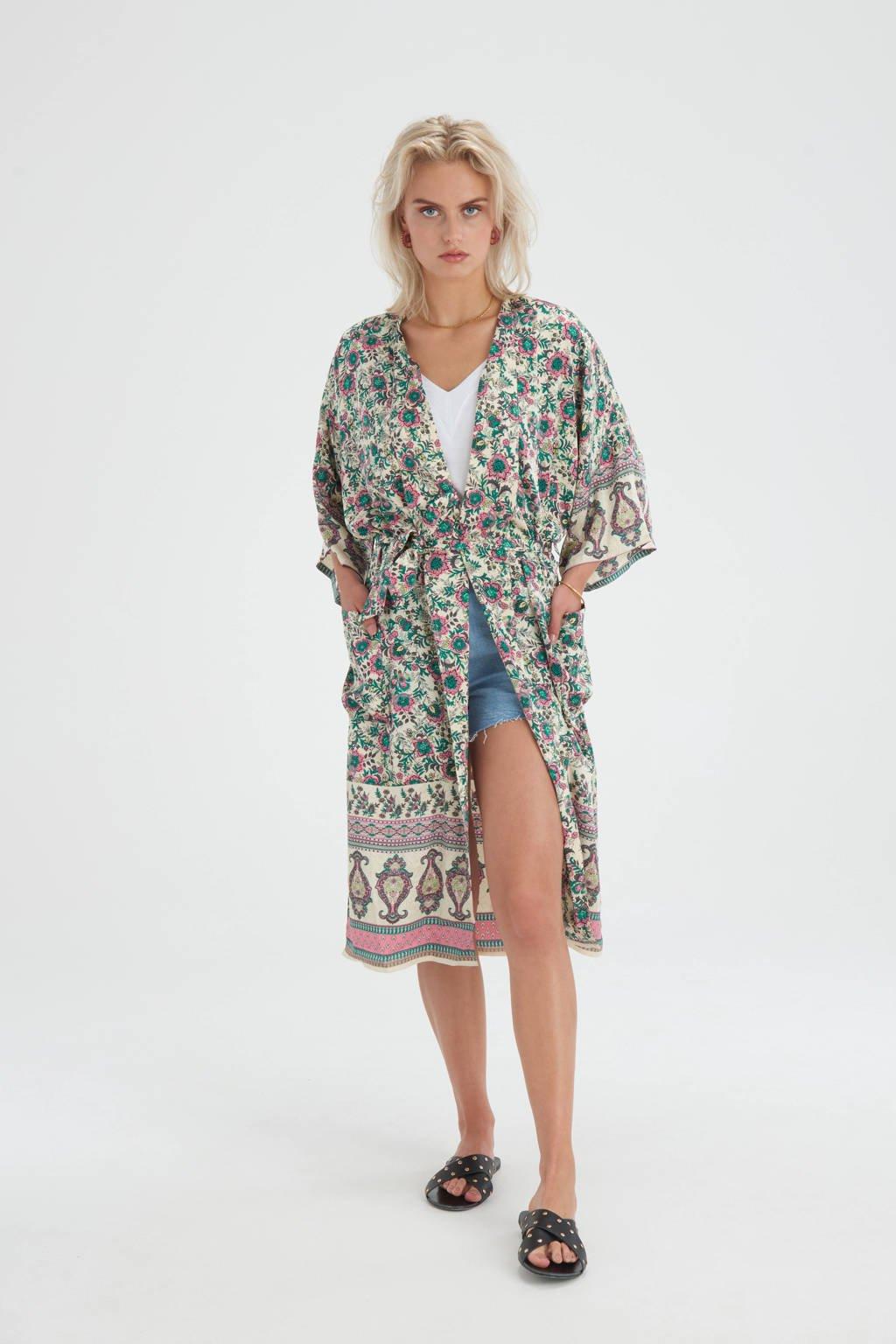 Shoeby Eksept kimono Printed met all over print en ceintuur ecru/groen/roze, Ecru/groen/roze