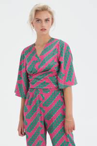 Shoeby Eksept overslag top Printed met bladprint en overslag detail roze/groen, Roze/groen