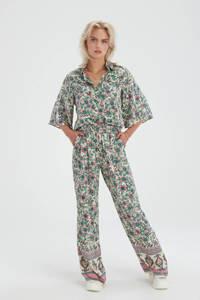 Shoeby Eksept gebloemde blouse Printed Kimono ecru/roze/groen/geel, Ecru/roze/groen/geel