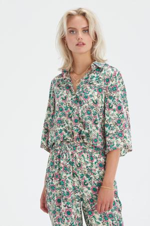 gebloemde blouse Printed Kimono ecru/roze/groen/geel